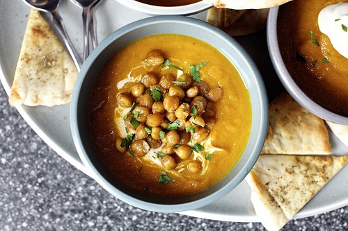 Carrot Soup with Tahini and Crisped Chickpeas from Smitten Kitchen
