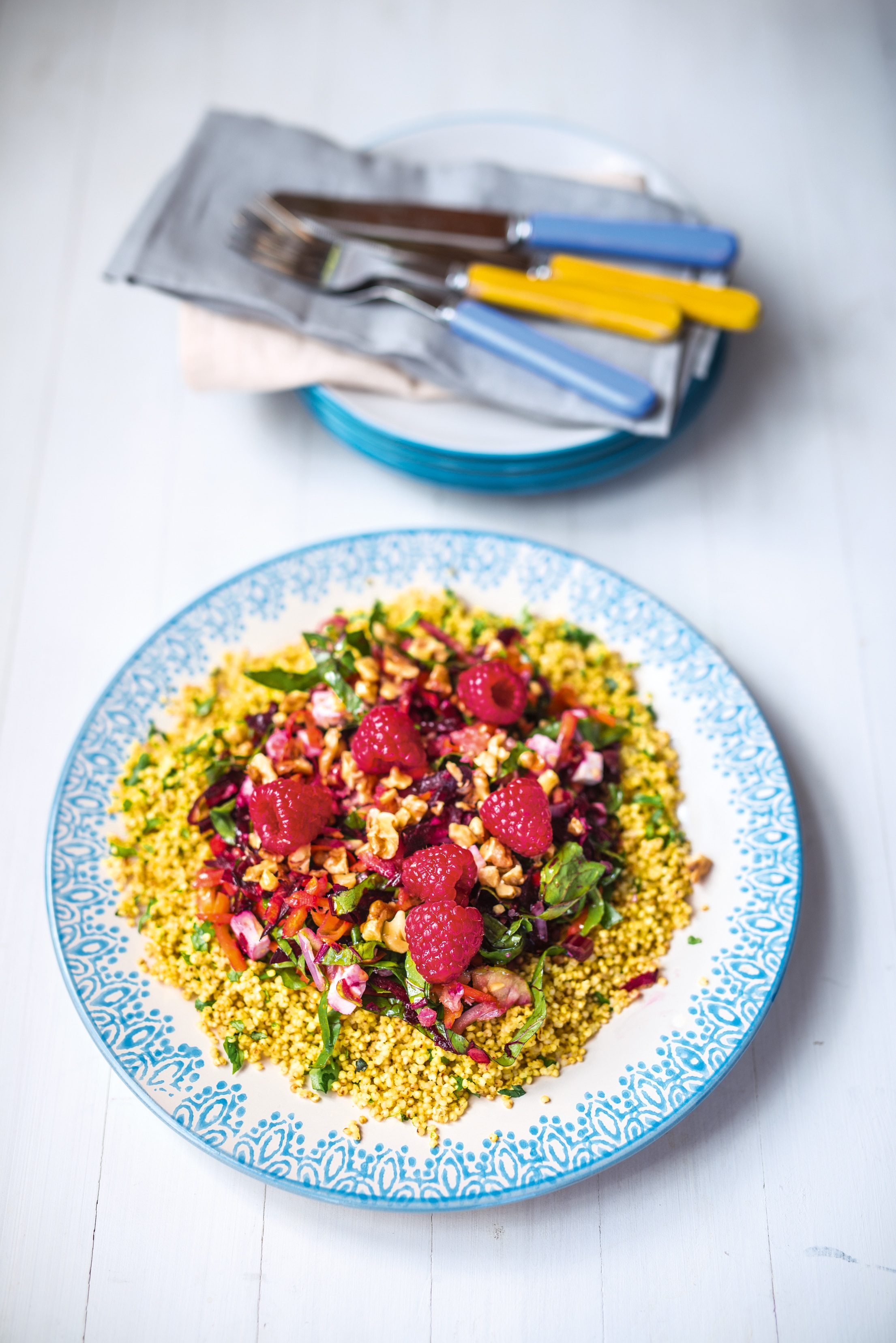 Beet Apple and Raspberry Salad with Herb Millet
