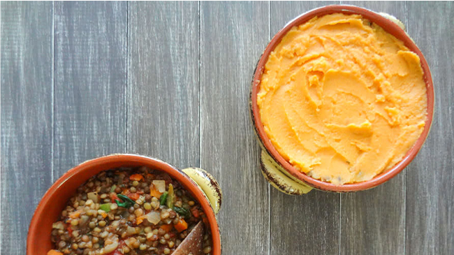 Lentil and Sweet Potato Shepherd's Pie from One Ingredient Chef